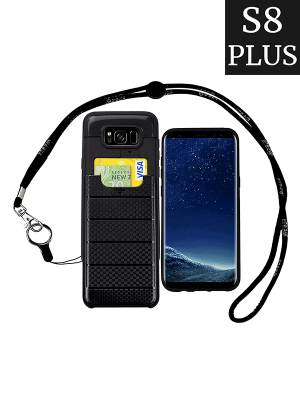 the best attitude fa27f 6af95 Galaxy S8 Plus Lanyard Case with Back Card Holder and Detachable Long Neck  Strap - Rugged Cover ID Wallet Necklace (Samsung S8 Plus 6.2 Inch Black)